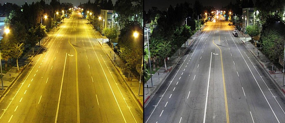 differences in lighting following LED reterofit in LA